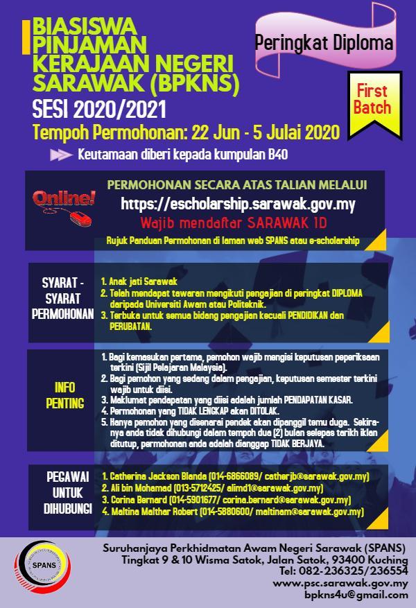 Biasiswa Pinjaman Kerajaan Negeri Sarawak Bpkns Sesi 2020 2021 Dbna Dayak Bidayuh National Association